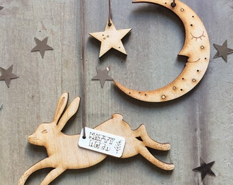 The Hare and the Moon Decorations in Natural Finish with Free U.k. Delivery