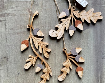 Autumn Edit - A Set of Three Oak Leaf and Acorn Hanging Decorations in Rich Autumn Tones