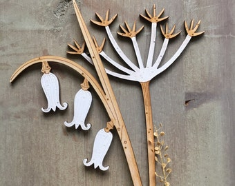 Wooden Flowers. Beautiful Hand Painted Birchwood Flowers - A Single Bluebell Stem with an Elegant Cow Parsley in Classic Scandi White