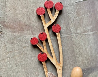 Wooden Flowers - A Beautiful Hand Painted Birchwood Berry Stem in Red or White