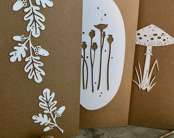 Paper Cuts  - A Set of Three Autumn Themed Somerset Paper Cards