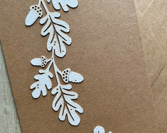 Paper Cuts  - An Autumnal Card featuring Beautiful Somerset Paper Oak Leaf and Acorn Motifs on Recycled Card