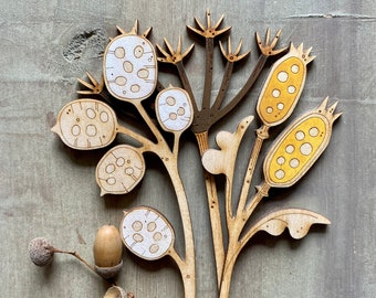 Hand Painted Flowers. Autumn Edit - Luminaria Honesty Petals with a Gorgeous Golden Ochre Seedpod and Cecily Brown Cow Parsley Stem