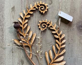 Pretty Fern Decorations in Natural Birchwood Finish