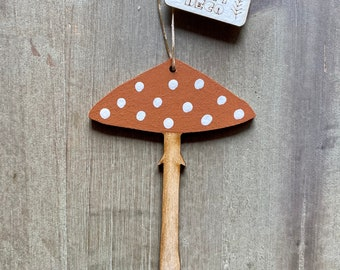 Spotty Hand Painted Toadstool Decoration in Autumn Tones