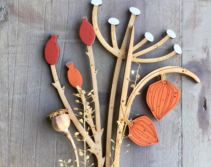 Featured listing image: Hand Painted Flowers- Beautiful Birchwood Rosehips with Chinese Lantern Plant and Cow Parsley