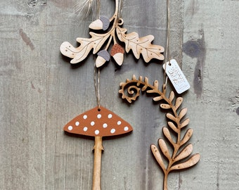 Autumn Decor - A Set of Hand Painted Birchwood Decorations in Autumn Tones