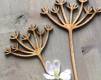 Wooden Flowers. A Pair of Delicate Birchwood Cow Parsley Stems in Natural Finish
