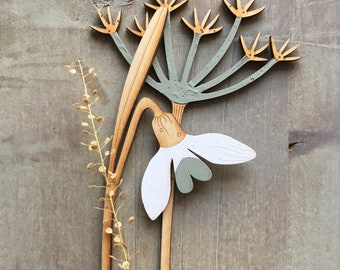 Wooden Flowers. Beautiful Hand Painted Birchwood Flowers - A Cow Parsley Stem in Soft Sage with Snowdrop in Classic Scandi White