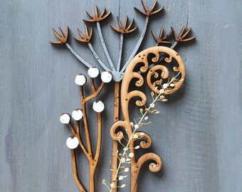 Hand Painted Flowers -Cow Parsley, Berries and Fern