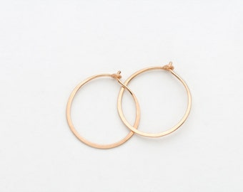 Small Gold Hammered Hoop Earrings - E1385