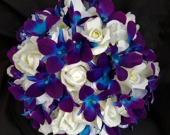 Purple Blue Orchids Etsy