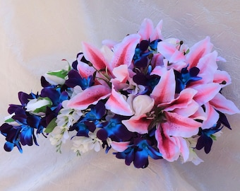 Cascading, teardrop bridal bouquet with tiger lilies, galaxy orchids, purple blue orchids, island, artificial flower, real touch roses