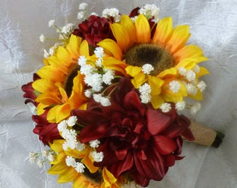 Sunflower, deep red dahlia, baby's breath bridal, bridesmaids fall bouquet, rustic country wedding, baby's breath, autumn bouquet