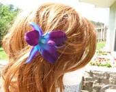 Purple blue orchid hair pin, hair accessory, galaxy orchid hair pin, dendrobium orchid pin, bridal, bridesmaids hair pin
