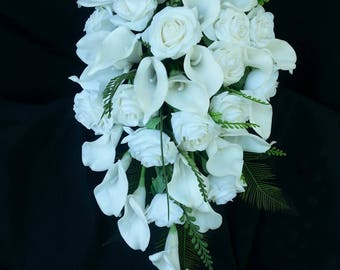 Cascading, teardrop artificial real touch calla and rose bouquet, destination wedding, off white, white flowers