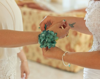 Hydrangea wrist corsage, customizable