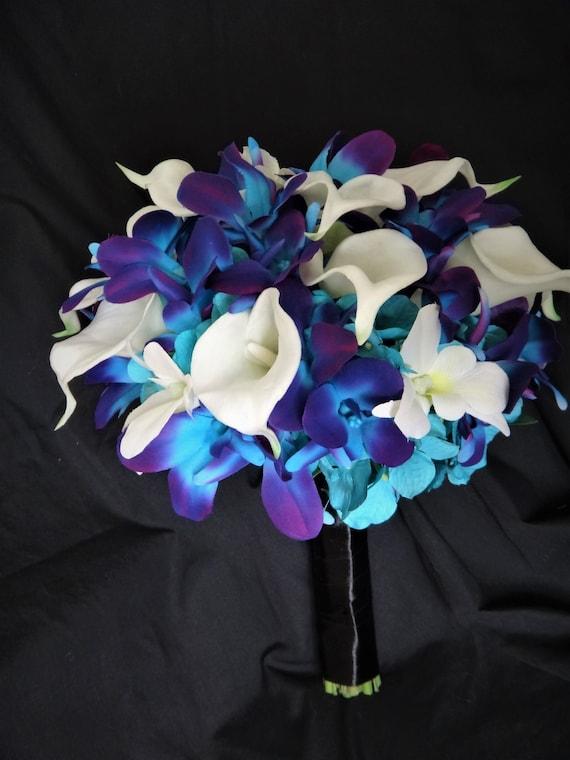 Galaxy Orchidee Brautstrauss Calla Lilie Turkis Lila Etsy