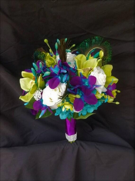 Galaxy Orchidee Orchidee Verte Bouquet De Mariee Rose Vraie Touche Turquoise Plumes De Paon Bouquet De Mariee Bouquet De Fleurs Artificielles