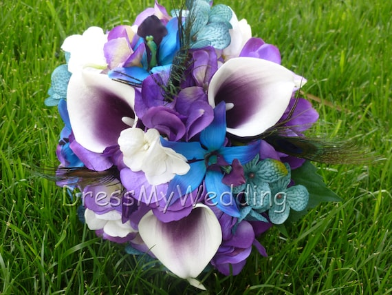 Purple Bouquet Purple Hydrangea and Calla Lily Flower Girl Bouquet Hydrangea Bouquet Small Bridesmaid Bouquet Calla Lily Bouquet