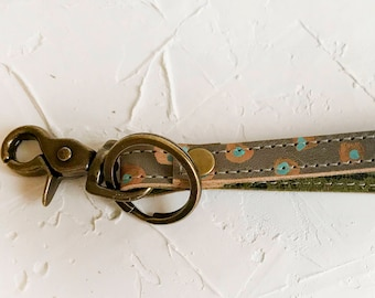 OOAK Hand painted leather key fob #2