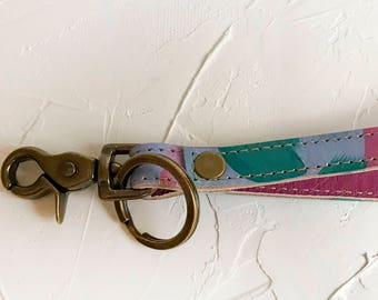 OOAK Hand painted leather key fob #5