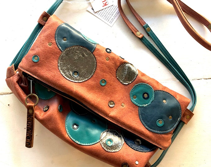 One of a kind blue and turquoise quilted leather handbag