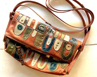 One of a kind cream, blue and green quilted leather handbag