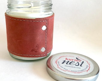 Leather wrapped, handpoured US soy wax candle - GINGER scent 9 oz. jar - Phthalate free