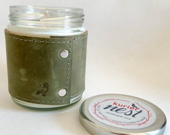 Leather wrapped, handpoured US soy wax candle - PINE scent 9 oz. jar - Phthalate free
