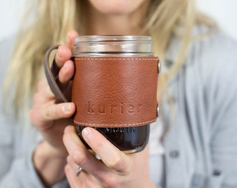 Camp Mug - leather wrapped mason jar coffee mug