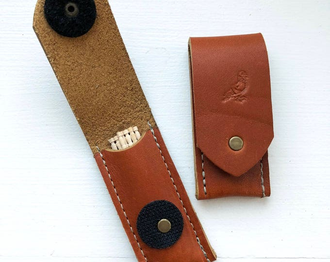 Brown leather toothpick holder