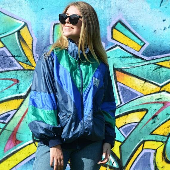 5960f4639 Vintage 90's windbreaker jacket multi color, Shell jacket, Unisex, Retro,  Oversized, Size L, Festival Jacket, Colorblock Windbreaker