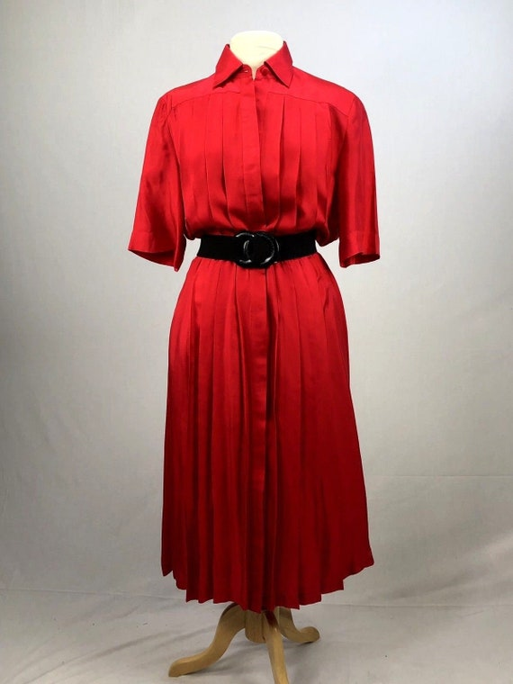 Vintage Original 1980's Bright Red 100% Silk Dress