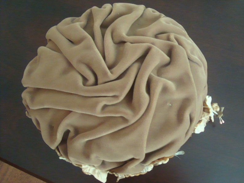 Vintage 1960s Ruched Velvet Hat Taupe Color USA Union Made Darsel Exclusive