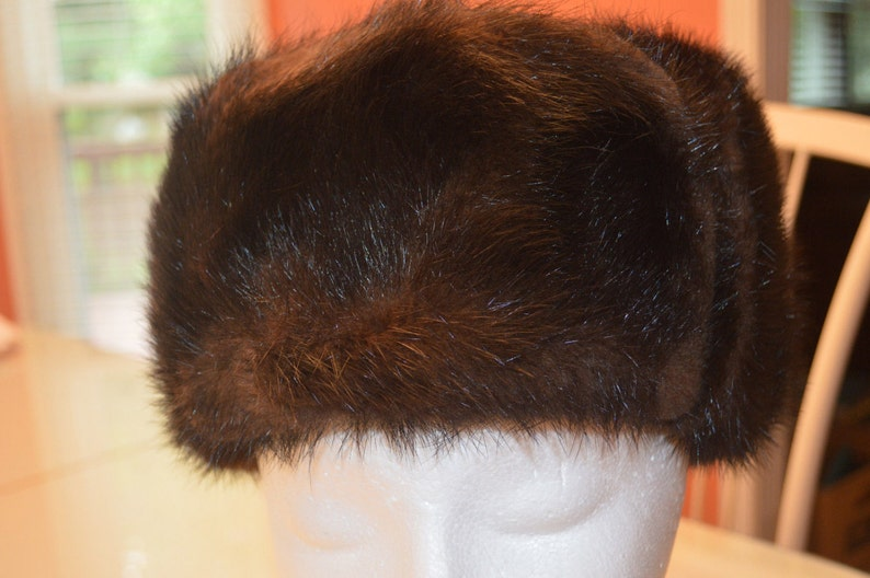 672e83be VINTAGE RUSSIAN USHANKA women's dark brown mink Fur Hat | Etsy