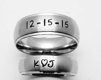 2903a02a07 Matching set of Personalized Rings, Brushed Finish Stainless Steel Rings, Couples  rings, Name rings, Wedding Bands, Promise Rings, His & Her