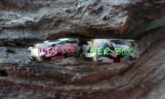 Camo Ring Set His Her Camouflage Stainless Steel Rings Etsy