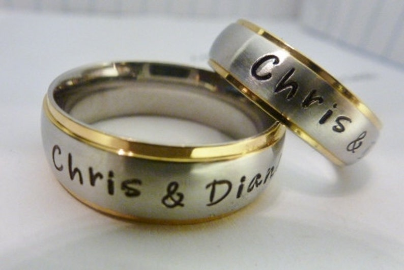 His & Her matching rings Personalized Rings Wedding bands image 0