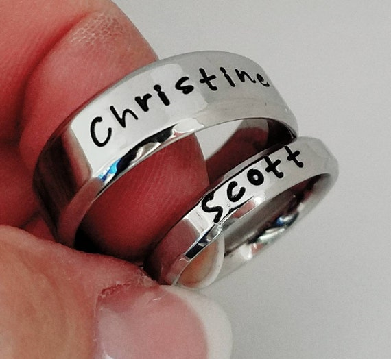 Personalized Matching Rings Name Rings Wedding Bands Etsy