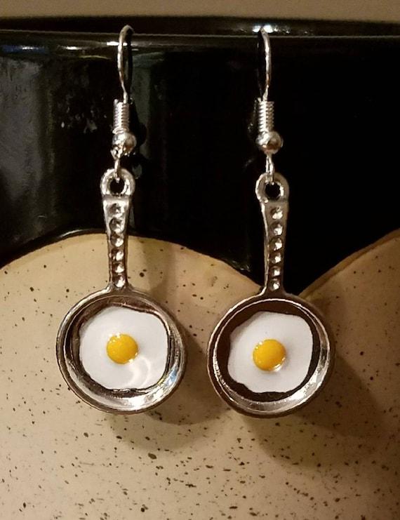 2019 Cute Fried Egg Earrings Hook Frying Pan Earrings Food Earrings Jewelry Gift