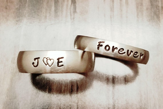 2 Pc Set Matching Rings Couples Rings His Her Rings Etsy
