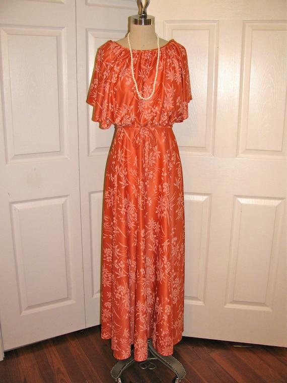 5d5692fac70c 1970's Orange Print Disco Maxi Dress Size Small | Etsy