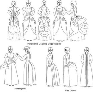 Victorian Dresses, Clothing: Patterns, Costumes, Custom Dresses Victorian Polonaise and Tea Gown Historical Sewing Pattern - Multi and Plus Sized Pattern by the Mantua Maker. 1880 15 $28.00 AT vintagedancer.com