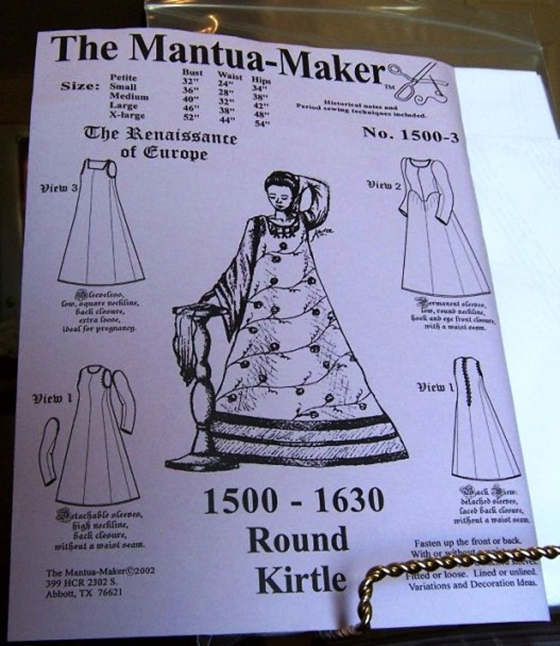 Elizabethan Round Kirtle Historical Sewing Pattern for 1500 - 1630  Multi  and Plus Sized  Created by the Mantua Maker, 1500-3