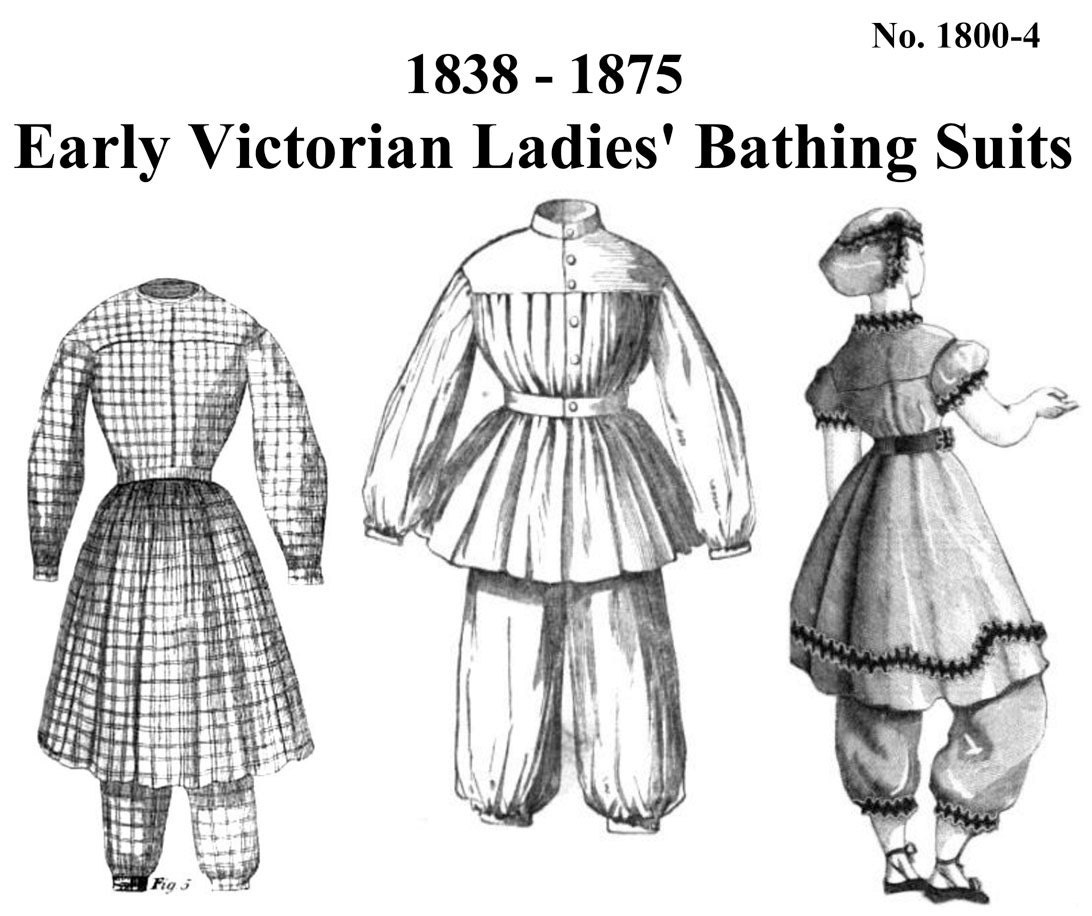 Victorian Bathing Suit Pattern: Multi Size Historical Sewing | Etsy