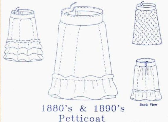 victorian petticoat pattern for the 1880s 1890s plus and etsy Petticoats Up for Windy image