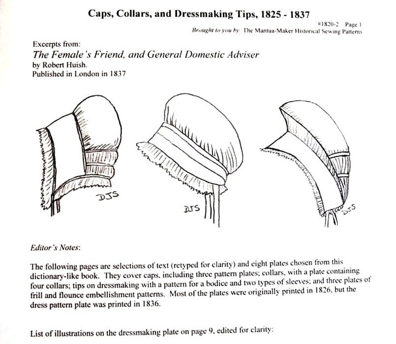 66389746118 Regency Sewing  Caps Collars   Dressmaking Tips Booklet PDF
