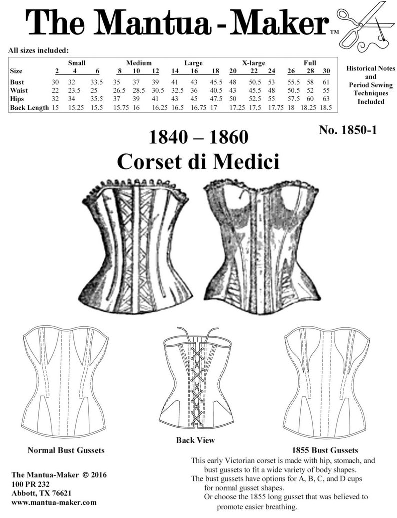 0d5fa29be6c Victorian Corset Pattern  Multi Sized Sewing Pattern for 1840