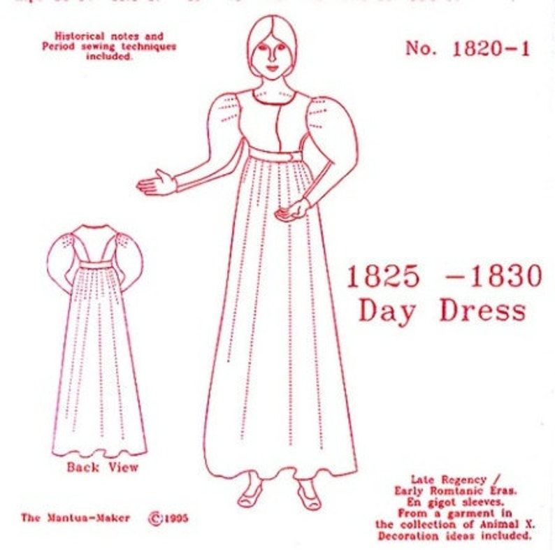 c6c05bc4d5b Late Regency Day Dress Historical Sewing Pattern for 1825